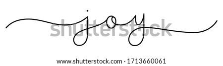 JOY black vector monoline calligraphy banner with swashes Stock photo ©