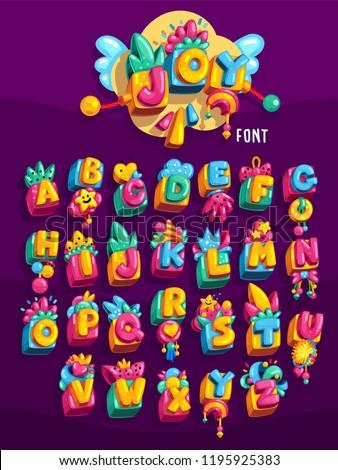 Joy kids toys cube colorful font. Vector symbol set illustration
