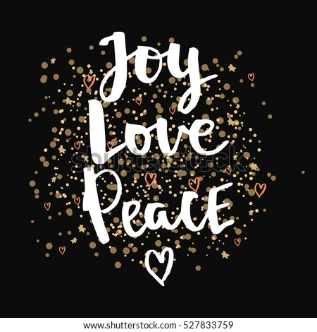 Joy love Peace. Christmas gold glittering lettering design. Hand calligraphic winter holidays vector quotes