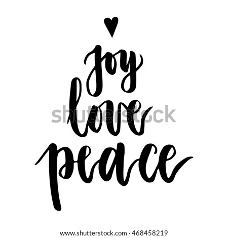 Joy, love, peace. Christmas written on white background. Modern calligraphy and hand drawn design elements. Hand painted letters. Christmas greetings. Vector illustration.