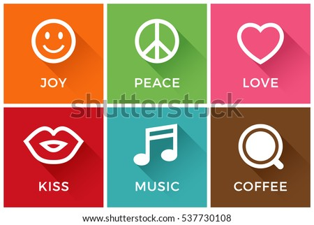 Joy, Peace, Love, Kiss, Music and Coffee symbol icons with long shadow and colorful background
