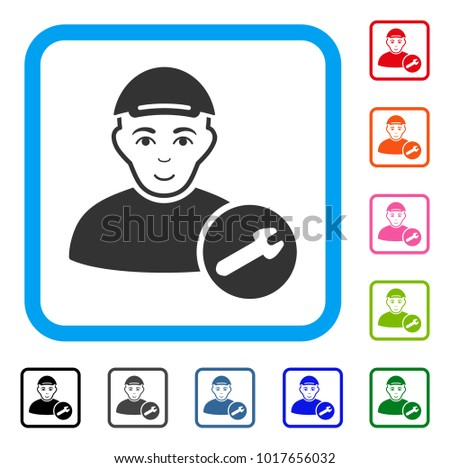 Joy User Setup Wrench vector icon. Human face has glad feeling. Black, grey, green, blue, red, pink color variants of user setup wrench symbol in a rounded rectangular frame.