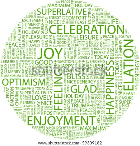 JOY. Word collage on white background. Illustration with different association terms.