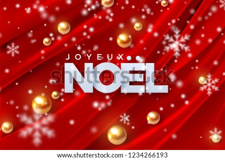 Joyeux Noel. Merry Christmas. Vector illustration. Holiday decoration of white paper letters, golden pearl spheres, snowflakes on red silk fabric background. Festive banner design