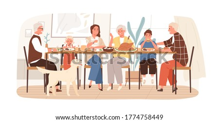 Joyful American family celebrating holiday sitting at dining table vector flat illustration. Happy children, parents and grandparents eating and drinking spending time together isolated on white