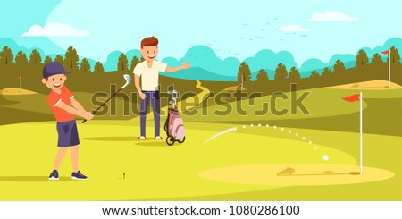 Joyful Boy is Hitting Ball with Golf Clubs, Aiming at Hole. Happy Father Showing Thumbs Up on Golf Course. Vector illustration. Family Leisure.