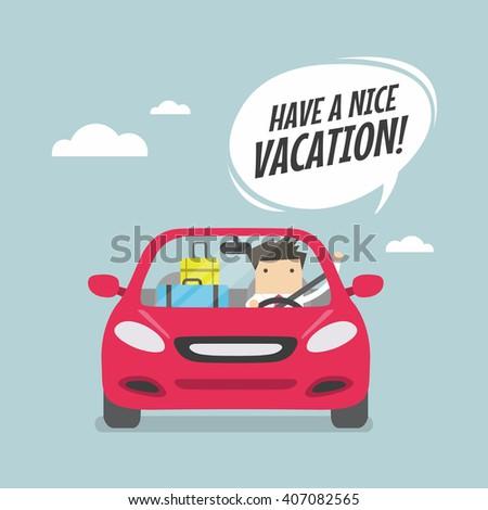 joyful businessman traveling by