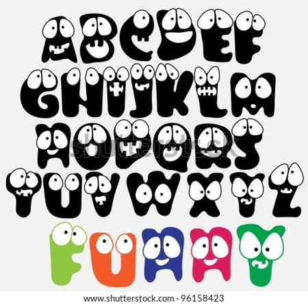 Joyful Cartoon font - from A to Z, funny capital letters, vector