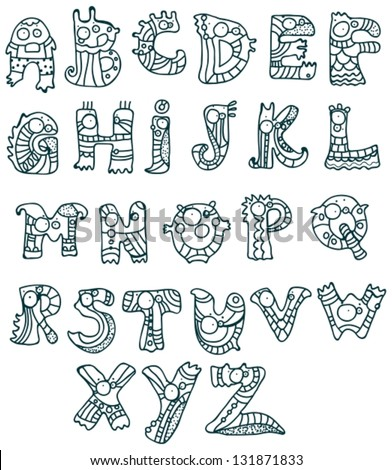 Joyful Cartoon font - from A to Z, monster hand drawn letter, funny vector Alphabet for Design