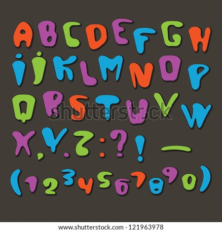 Joyful Cartoon font - letter from A to Z, numbers. Vector clip art./ Joyful Cartoon font