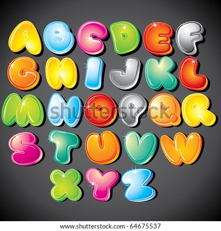 Joyful Cartoon font - letter from A to Z, vector clip art - stock vector