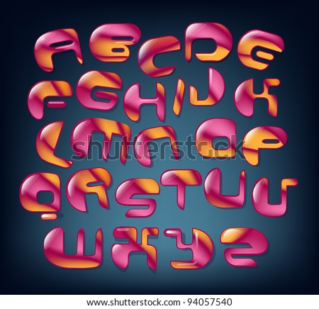 Joyful Cartoon font - letter from A to Z, vector clip art. eps 10