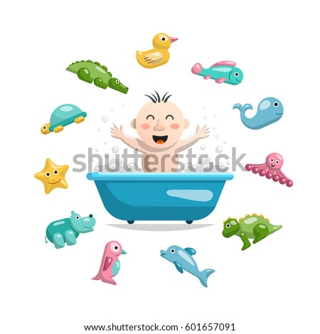 joyful child who bathes in a