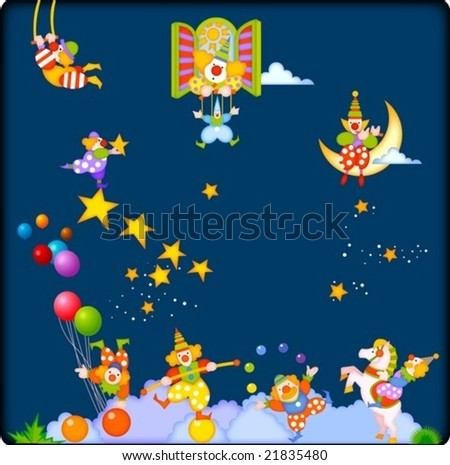 Joyful Circus and Cute Pierrot - enjoy happy and funny clowns with marionette puppet show at the fantastic circus festival isolated on beautiful blue night background : vector illustration