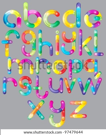 Joyful colorful Cartoon font - letter from A to Z, bright vector  illustration