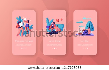 Joyful Couple Spend Time Mobile App Page Onboard Screen Set. Man and Woman Sit Drink Tea or Coffee have Picnic at City Park Pillow Fight Concept for Website Flat Cartoon Vector Illustration