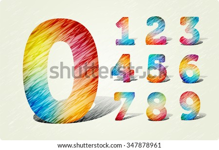 Autotraced Vector Letters And Numerals Joyful 3d Bright Numbers In The Style Of Colored Pencil Strokes Eps10 Zero