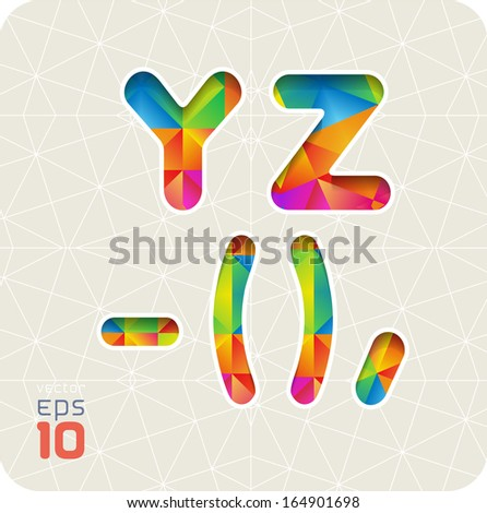 Joyful 3d set of cut paper vector alphabet. The capital letters  Y, Z and dash, bracket, comma. Multicolored gradient. Eps 10. The rest of letters, symbols and numbers of the alphabet in my portfolio.
