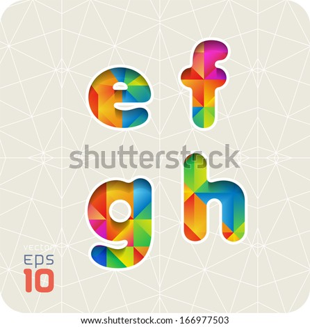 Joyful 3d set of cut paper vector alphabet. The lowercase letters e,f,g,h. Multicolored gradient. Eps 10. The rest of letters, symbols and numbers of the alphabet in my portfolio.