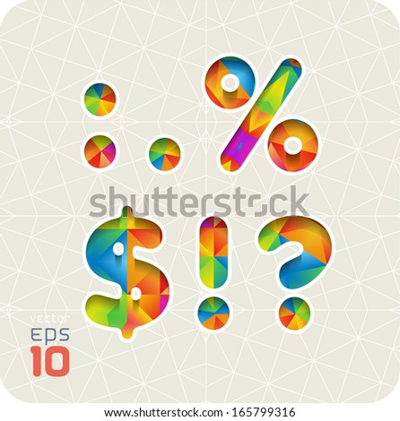 Joyful 3d set of cut paper vector alphabet. The punctuation and symbols, colon, point, percentage, dollar, exclamation, question. Multicolored gradient. The rest of the alphabet in my portfolio.