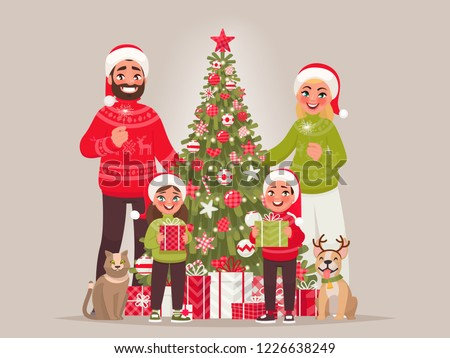 Joyful family near the New Year tree. Merry Christmas and Happy New Year. Father, mother, children and pets together celebrate the holiday. Vector illustration in cartoon style