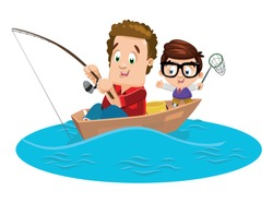 Joyful father and son catch fish with rod and push net. Two brother enjoying summertime at boat on river or lake. Weekend outdoor recreation, male hobby concept. Vector cartoon isolated on white.
