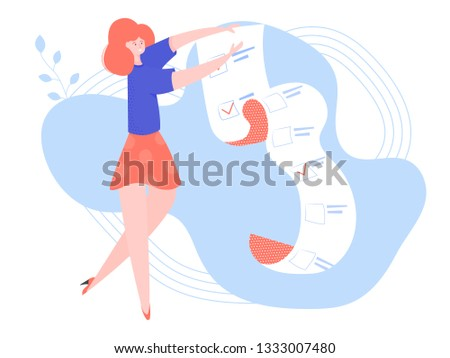 Joyful girl holding a long sheet of paper. Document with check list. Day planning, time management, project management. Vector illustration.
