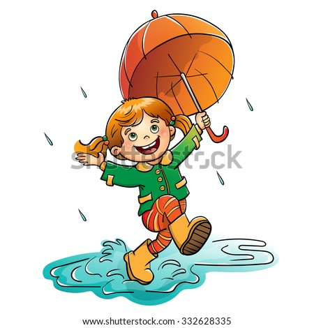 joyful girl jumping in the rain