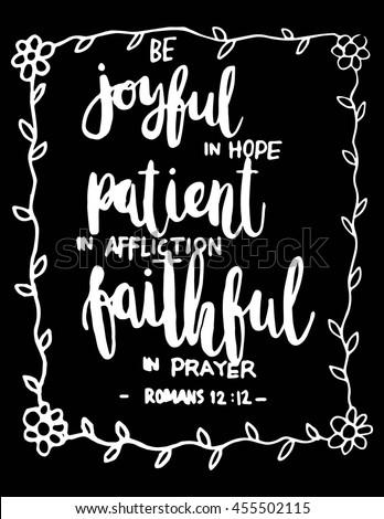joyful in hope  patient in