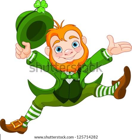 Joyful jumping leprechaun.