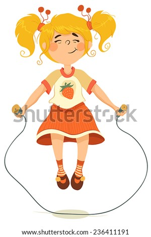 Joyful little girl jumping skipping-rope.