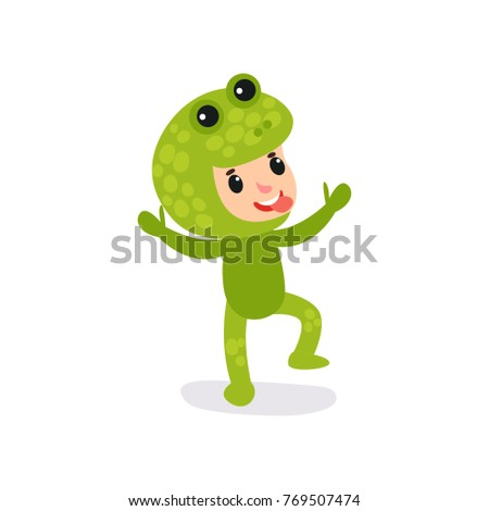 8eacfef67742 Joyful little kid having fun in green frog jumpsuit. Cartoon child cheerful  face expression showing