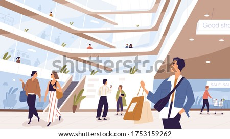 Joyful man and woman with packages inside shopping mall vector illustration. People customers taking selfie, talking, carrying trolley at modern outlet. Buyer person spending time at store or shop