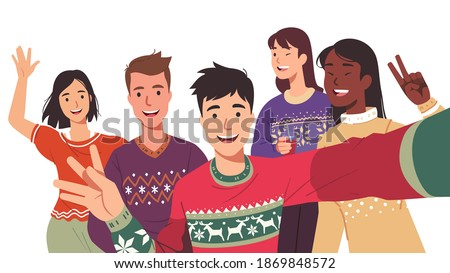 Joyful men, women posing taking selfie group photo picture having New Year Day party. Young friends persons celebrating Christmas together. Xmas celebration fun flat vector character illustration