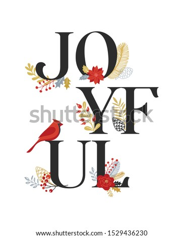 Joyful, Merry Christmas card with lettering on elegant floral background. Vector design card and banner