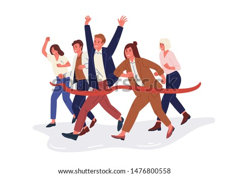 Joyful office workers or clerks crossing finish line and tearing red ribbon. Concept of people taking part in professional competition, rivalry at work. Modern flat cartoon vector illustration.