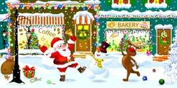 Joyful Santa Claus, deer and snowman on a snowy city street celebrate Christmas. Santa is ringing a Christmas bell.