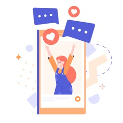 Joyful school-age girl on the smartphone screen. Child blogger influencer. Likes and comments on social networks. Internet communication. Vector flat illustration.