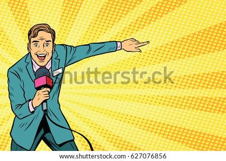 joyful TV reporter broadcasts live. Pop art retro vector illustration
