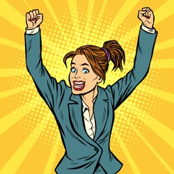 joyful woman winning hand gesture up. Pop art retro vector illustration vintage kitsch drawing