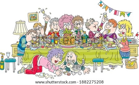 Joyous celebration with funny, noisy and slightly drunk guests at festive tableful of various drinks and tasty food, vector cartoon illustration isolated on a white background Foto stock ©