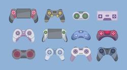 Joystick cartoon set icon. Video game console. Game of joystick isolated on white background. Vector illustration, EPS 10.