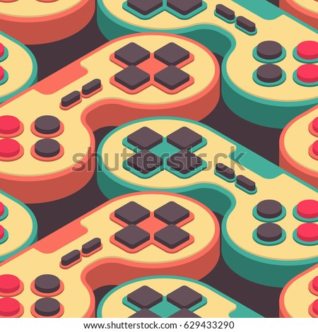 Joystick retro seamless pattern. Gampad Game console 8 bit texture. Retro video game control background