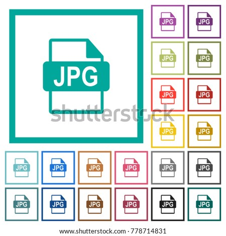 JPG file format flat color icons with quadrant frames on white background