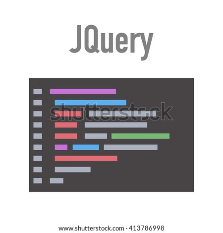 Jquery technology in flat style, coding editor for programmers
