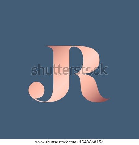JR monogram logo.Typographic icon with shiny metallic pink letter j and letter r.Uppercase lettering sign.Alphabet initials isolated on dark blue background.Modern,luxury,beauty,boutique style.