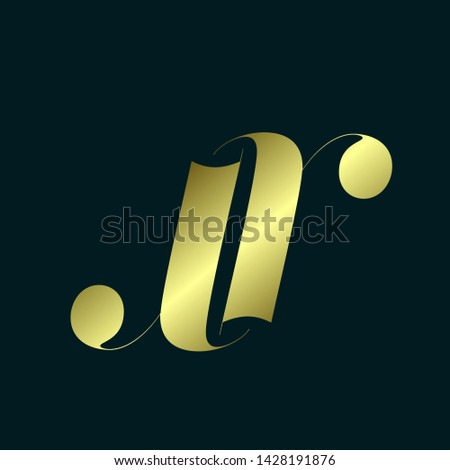 JR monogram.Typographic logo with letter j and letter r.Lettering icon.Lowercase alphabet initials in shiny golden color isolated on dark background.Elegant, beauty, luxury, wedding style.