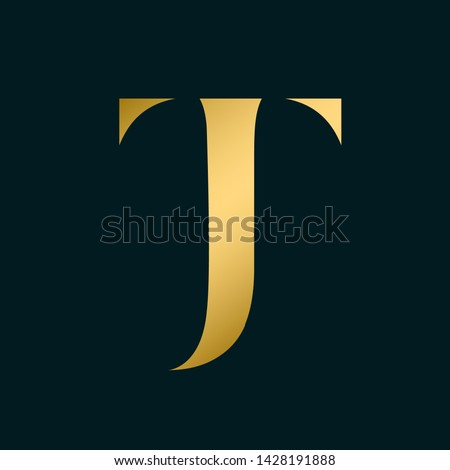 JT monogram.Typographic logo with letter j and letter t overlapped.Serif lettering icon.Uppercase alphabet initials in shiny golden color isolated on dark background.Elegant, beauty, luxury style.