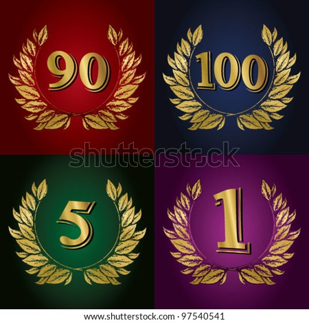Jubilee, golden laurel wreath 5 years, 90 years, 100 years, 1 years or first place