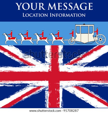 Jubilee Message, vector flyer for a British royal celebration, with a State Coach and a grunged Union Jack